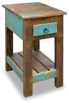 La Boca Solid Wood Side Table Beach Style Side Tables And