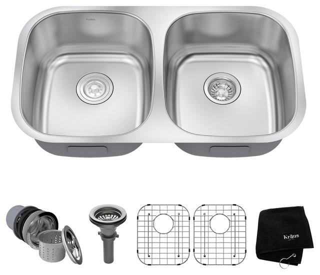 kraus 32 undermount 50 50 kitchen sink 16g stainless steel with accessories contemporary. Black Bedroom Furniture Sets. Home Design Ideas