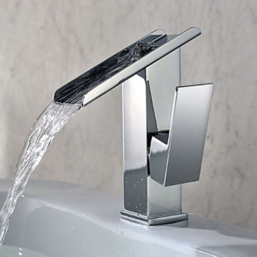Single Handle Contemporary Solid Brass Waterfall Bathroom Sink Faucet
