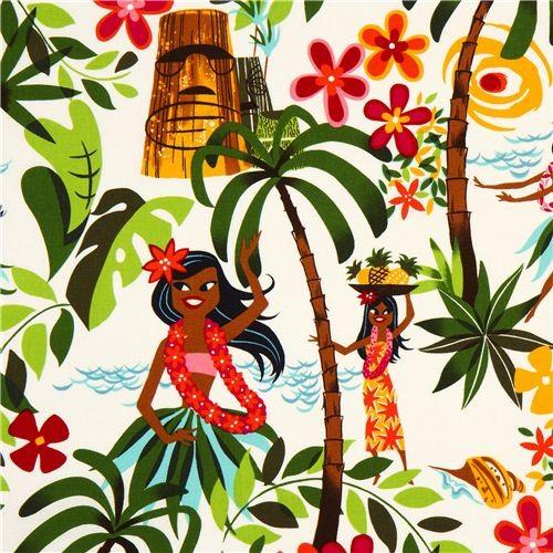white dancing hula girls fabric by Alexander Henry Hawaii