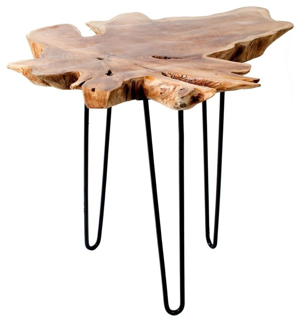 Root End Table: Teak Root Accent Table Metal Legs, 24""