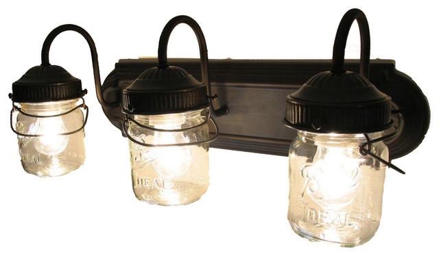 Black Bathroom Vanity Light Fixtures bathroom vanity bar trio light fixture of pint mason jars