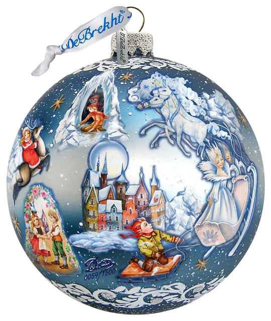 Hand Painted Scenic Glass Ornament Snow Queen Ball