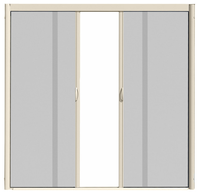 Visiscreen double panel retractable screen door modern for Retractable double screen door