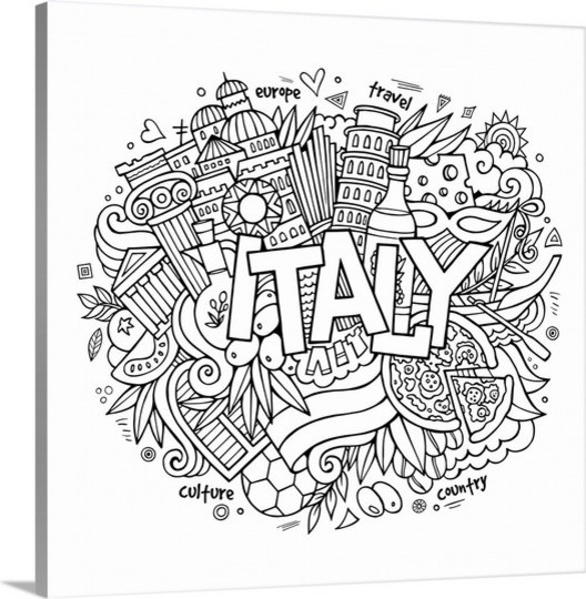 italy colorable olga kostenko coloring canvas wall art print 16x16