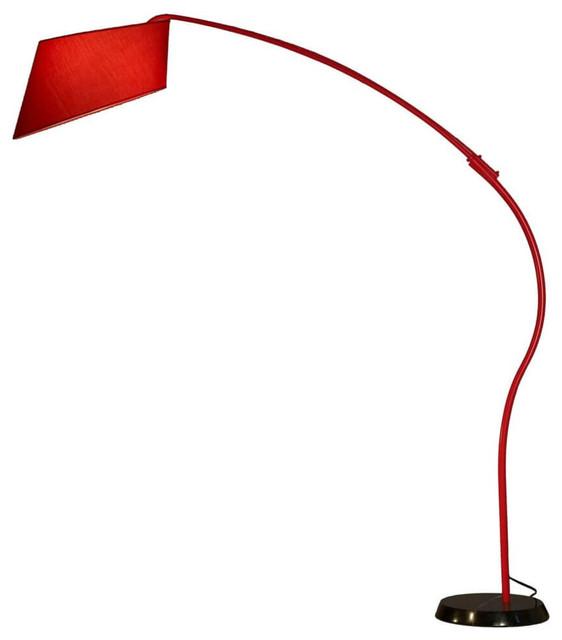 "Contemporary Floor Lamps, ""oakman"" Red Floor Lamp."