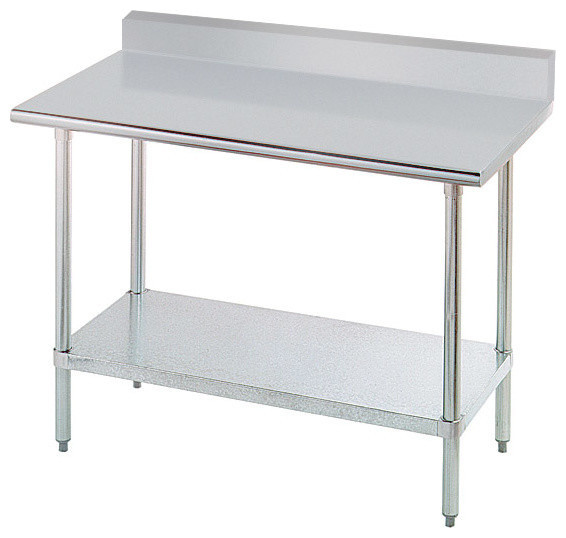 Ordinaire Stainless Steel Chef Table With Shelf And Backsplash, ...