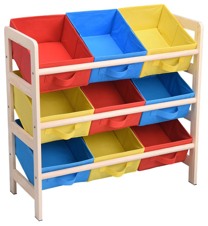 Playroom Set Multiple Colors Cubby Wooden Storage Space Kids Furniture Childrens Storage Organizer White Stackable Three-Bin Storage Cubby Three-Bin Design Toy Chest BONUS e-book
