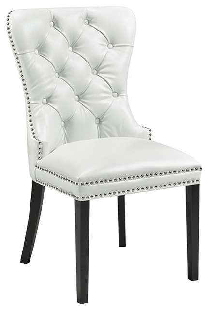 Peyton Diamond Tufted Leather Upholstered Dining Chairs Set Of 2 White