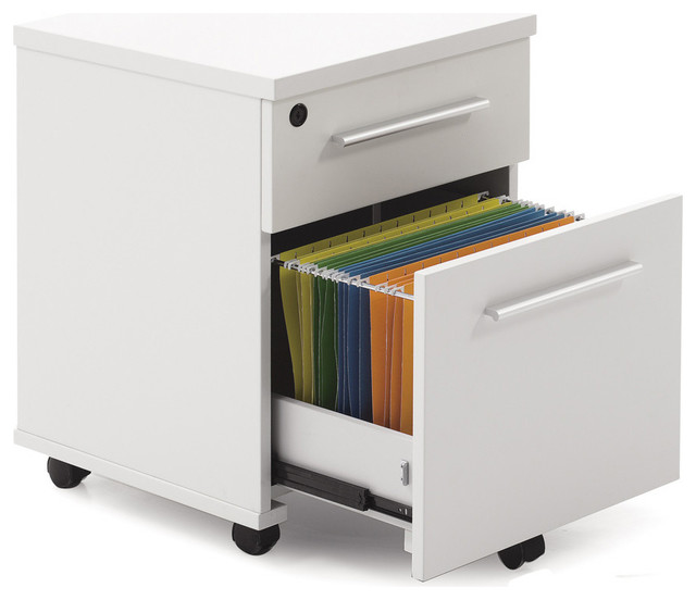 White Lacquer Locking Mobile File Cabinet with Locking Castors - Contemporary - Filing Cabinets ...
