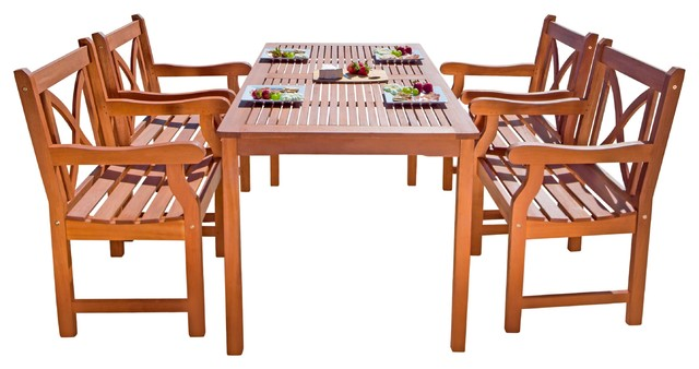 5-Piece Outdoor Eucalyptus Dining Set.