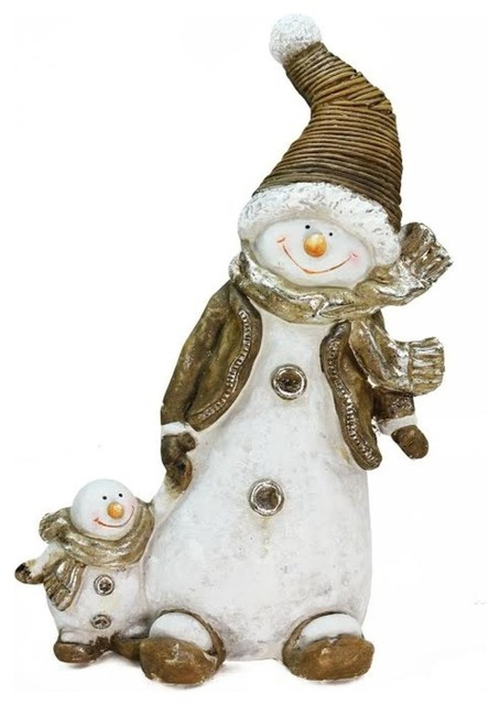 Whimsical Snowshoeing Ceramic Christmas Snowman, Snow-Baby Tabletop Figure.