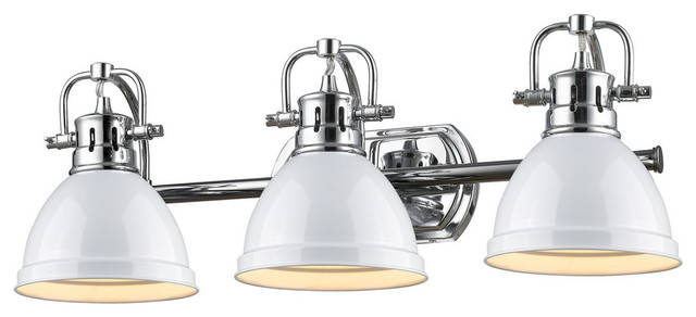 Duncan 3 light vanity chrome with black shade for Traditional bathroom vanity lights
