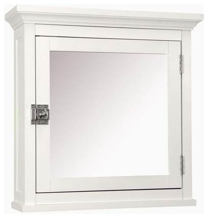 Madison Medicine Cabinet, White With Mirrored Door - Transitional ...