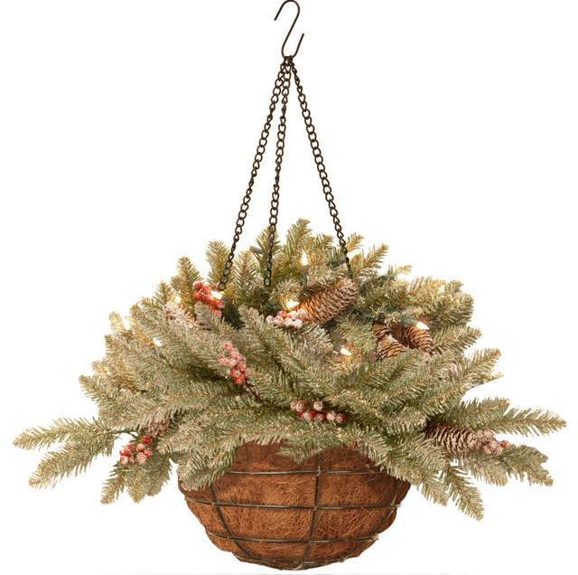 Led Hanging Flower Baskets : Quot dunhill fir hanging basket with battery operated warm