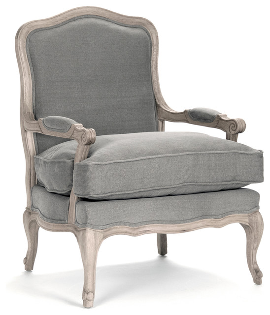 French Country Bastille Dark Gray Linen Salon Armchair