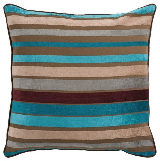 Contemporary Decorative Pillows: Solid/Striped Velvet Stripe Decorative Pillow