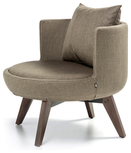 B Amp T Design Round Lounge Chair With Wood Base View In