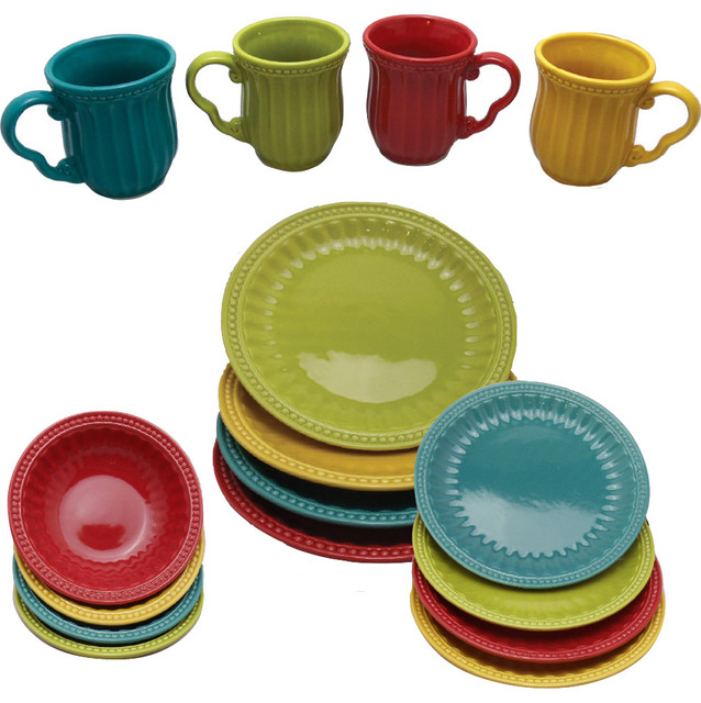 16-Piece Dinnerware Set  sc 1 st  Houzz & 16-Piece Dinnerware Set - Contemporary - Dinnerware Sets - by Drew ...
