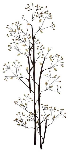 "Tall Metal Wall Art Adorable Tall 61"" Brown Gold Leaf Branch Wall Art Metal Berry Open Design Ideas"