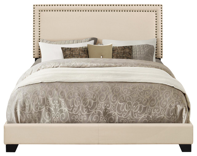 Bandera Upholstered Nailhead Bed, Cream, Queen