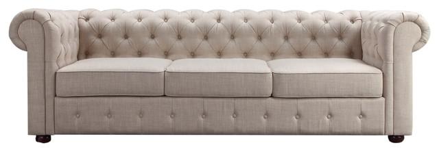 Garcia Deep Hand Tufting Rolled Arm Sofa, Beige