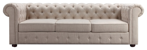 Garcia Deep Hand-Tufting Rolled-Arm Sofa, Beige