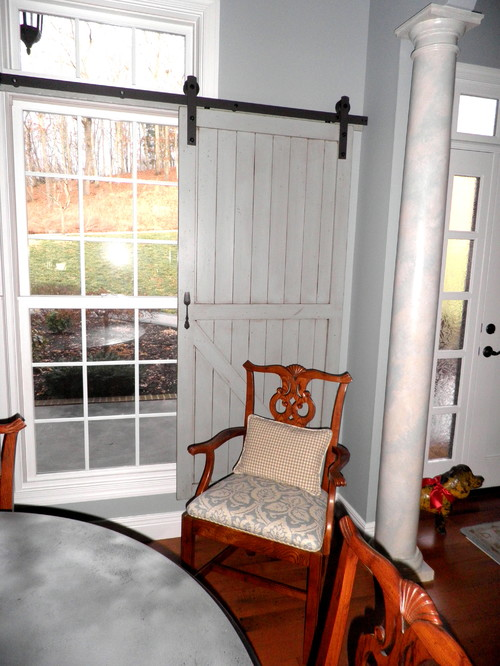 Decorating window covering for door : Barn Door Window Covering