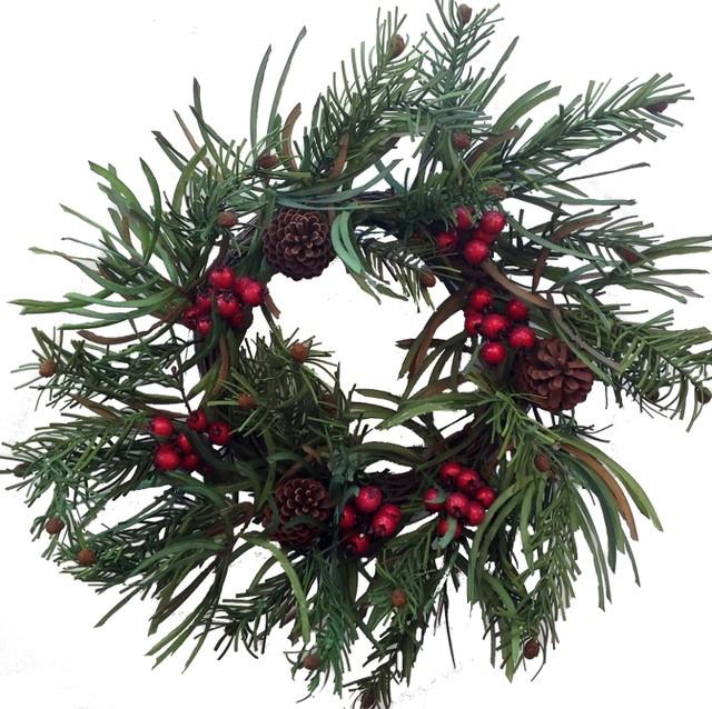 "Berry Pine Cone Wreath 22""."