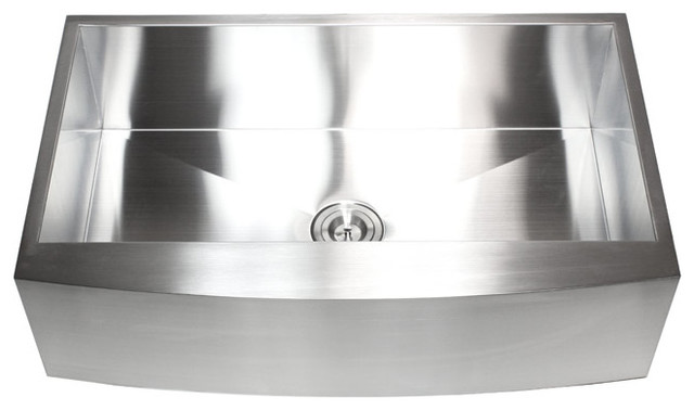 """36"""" Stainless Steel Single Bowl Curved Front Farmhouse Apron Kitchen Sink."""