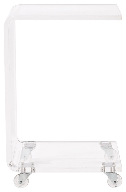 Medley Acrylic C Shaped Accent Table, Clear Contemporary Side Tables And