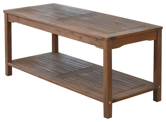 Acacia Wood Patio Coffee Table Transitional Outdoor Coffee Tables By Walker Edison