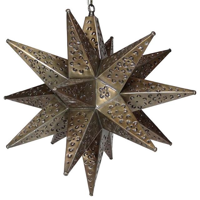 """Moravian Star Light, Flower Pierced Tin, Bronze, 20""""."""