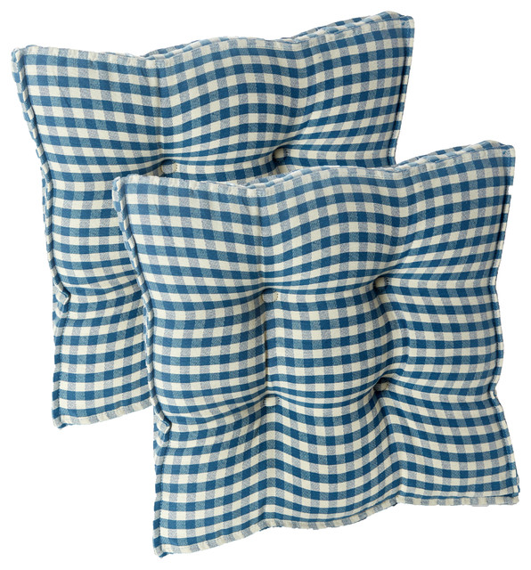 Gingham Square 17x17 Universal Chair Pads With Grip Dot, Set Of 2, Blue.