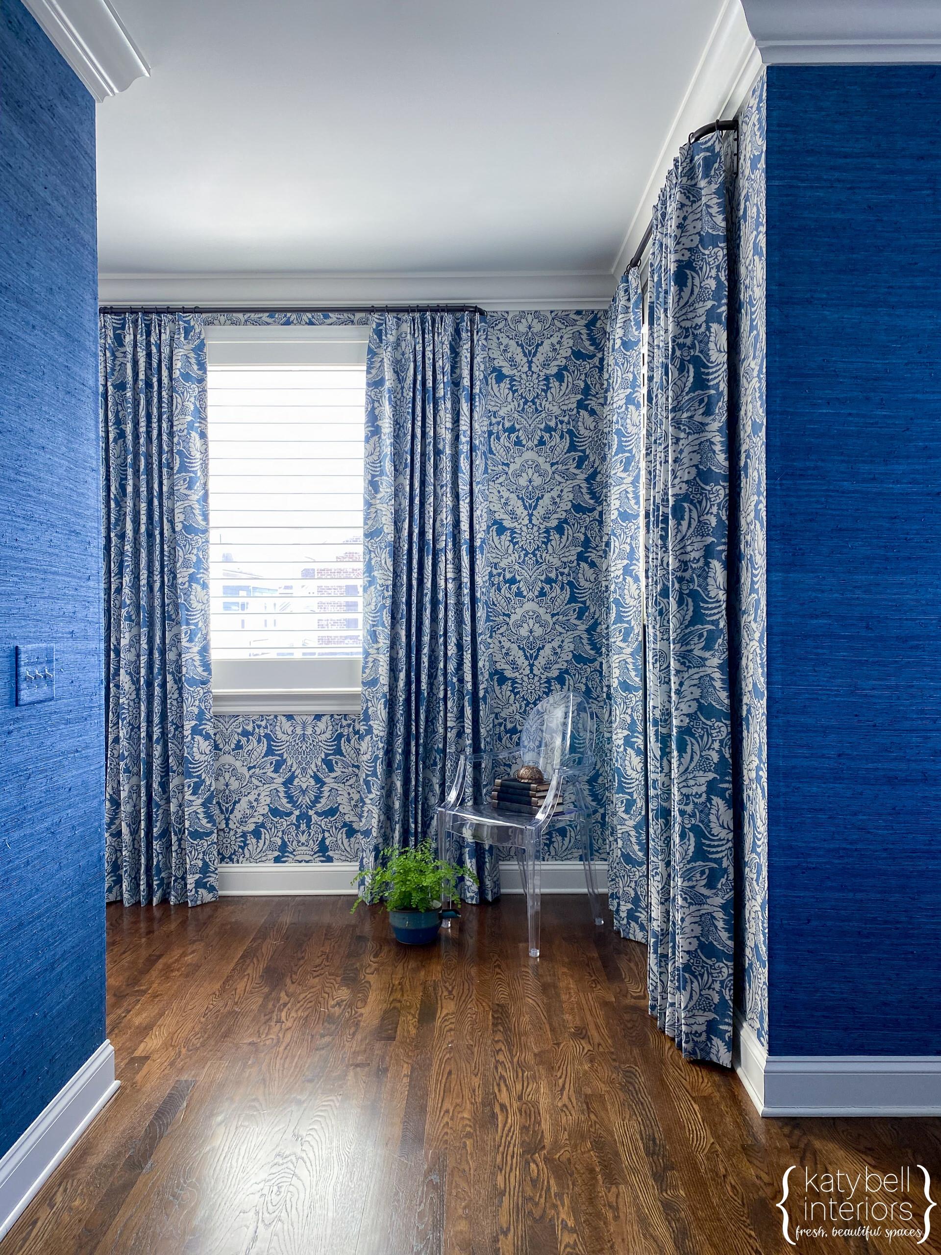 Media Room, Denim Blue Textured Grasscloth, Custom Draperies