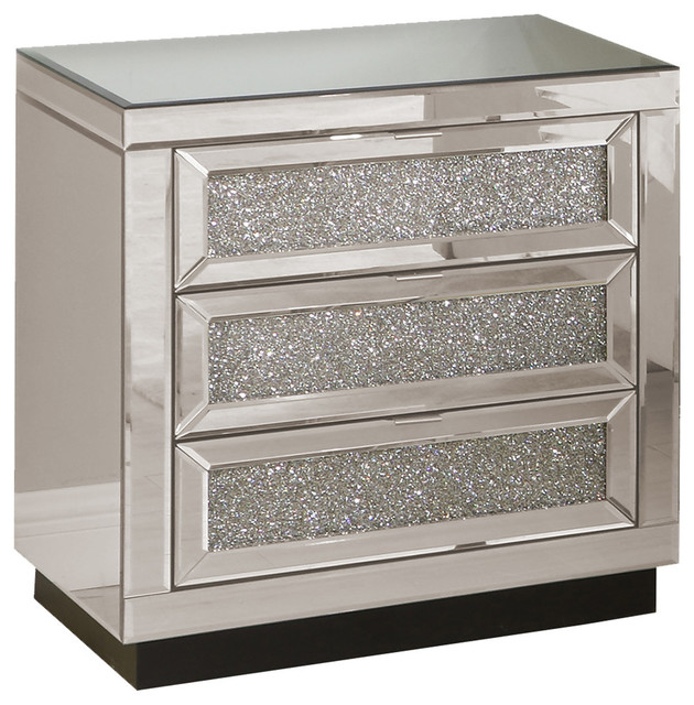 3 Drawer Silver Crystal Mirrored Nightstand