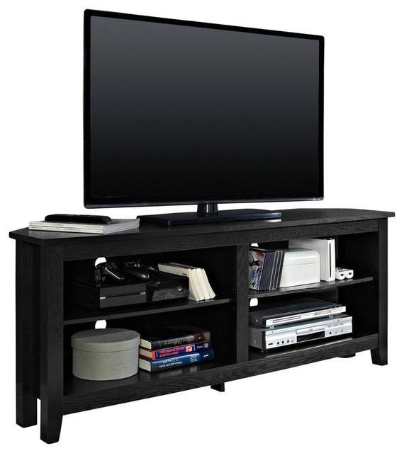 "We Furniture 58"" Wood Corner Media Tv Stand Storage Console, Black."