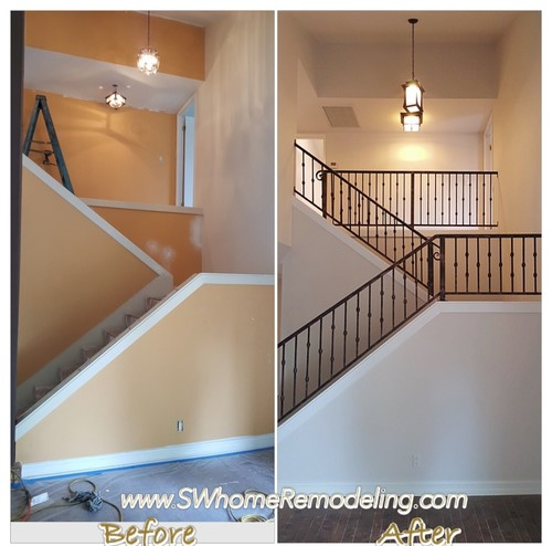 Before/After Stair Railing U0026 Painting.