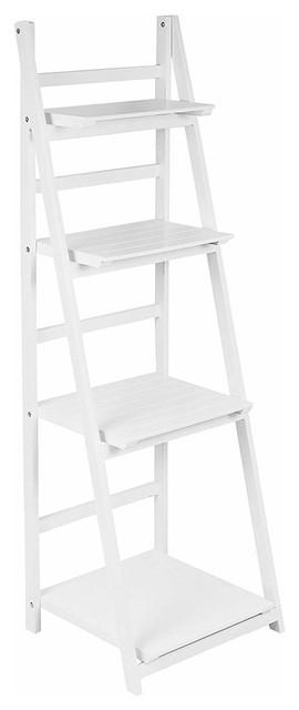 Modern Storage Shelf, White MDF With 4 Open Shelves, Folding Ladder Design
