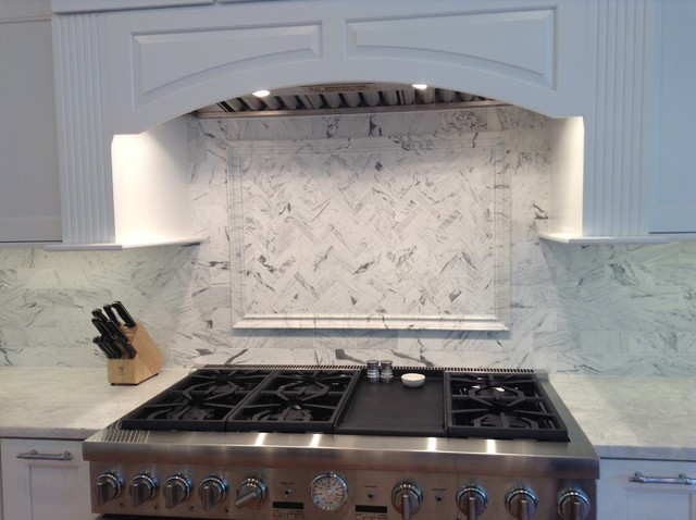 Well known Bianco Venatino Herringbone Marble Backsplash AV85