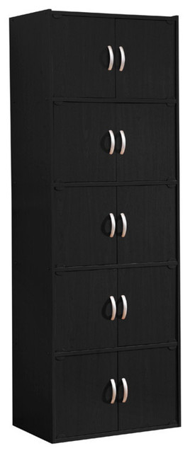 5-Shelf, 10-Door Bookcase, Black.
