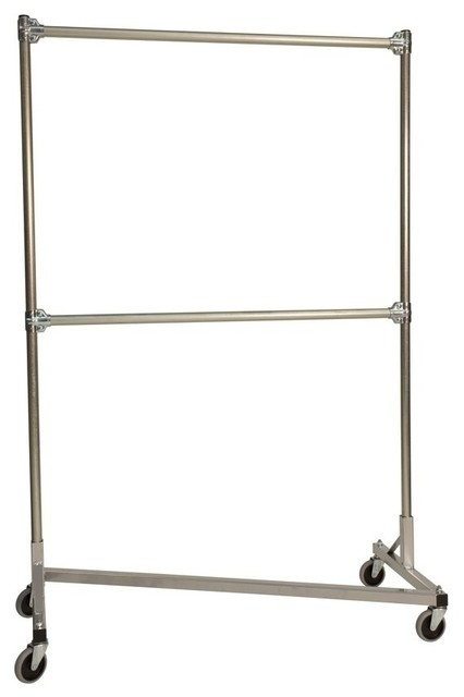 Heavy Duty Z-Rack Garment Rack W 48 In. Double Rail In Silver.
