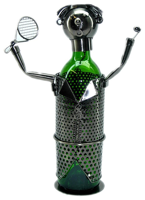 Happy Tennis Player With Rack Metal Wine Bottle Holder Character