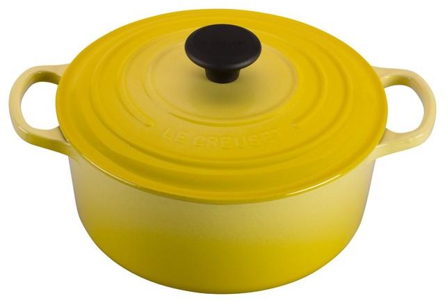 Le Creuset Cast Iron 0.3 Quart Mini Round French Oven, Soleil Yellow.