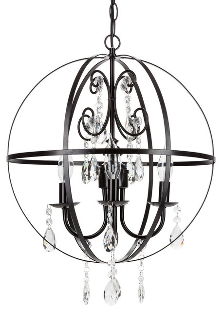 Luna 4 light wrought iron crystal orb chandelier black luna 4 light wrought iron crystal orb chandelier black aloadofball Image collections