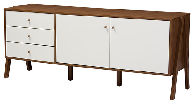 Harlow Modern Scandinavian Style Sideboard Storage Cabinet, Walnut Brown/white.