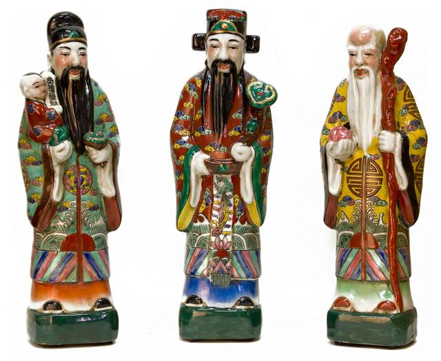 Porcelain Three Lucky Gods Asian Decorative Objects