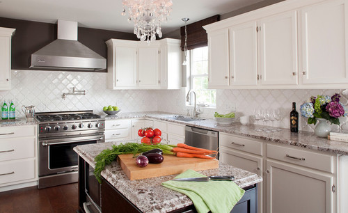 White Kitchen, Stained Island & Pantry with Bianco Antico Granite contemporary kitchen