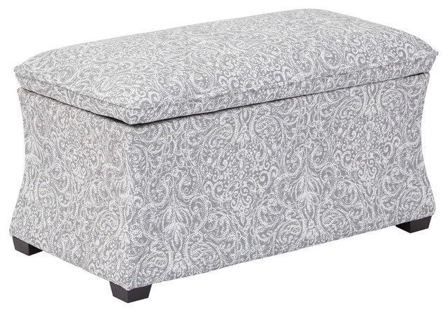 Hourglass Storage Ottoman Transitional Footstools And