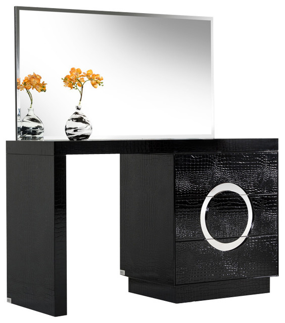 AampX Ovidius Modern Black Crocodile Vanity Table amp Mirror